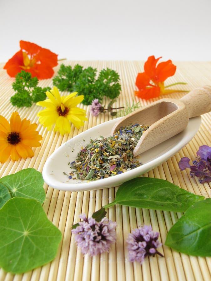 Le erbe salano con i fiori commestibili immagini stock