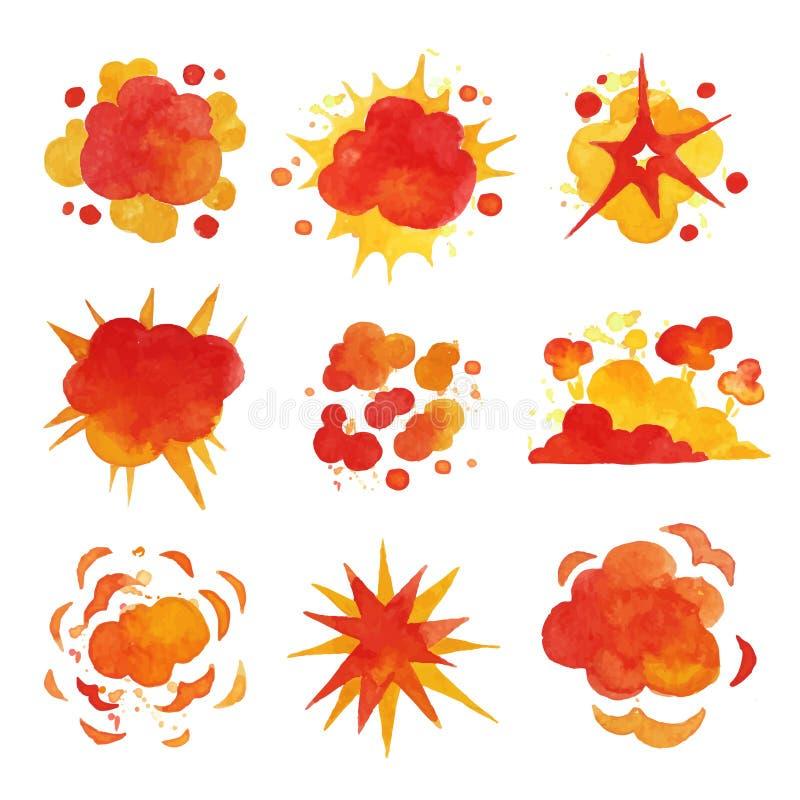 Le esplosioni mettono, infornano le illustrazioni di vettore dell'acquerello di effetto di esplosione illustrazione vettoriale
