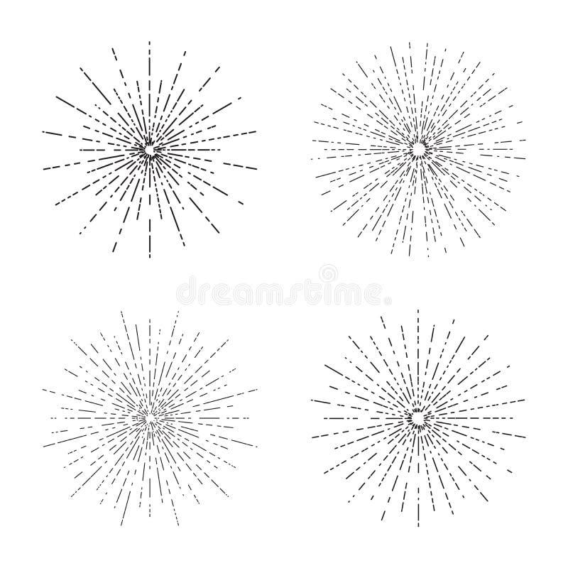 Le esplosioni solari retro hanno messo, raccolta d'annata di forme dei raggi del sole radiante per il logo, etichette o emblemi e illustrazione di stock
