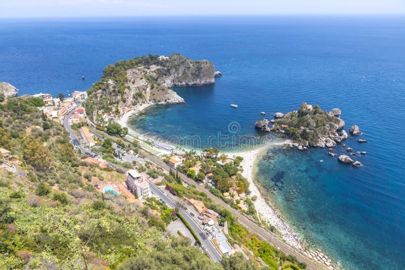 ?le et plage d'Isola Bella dans Taormina, Sicile, Italie images stock