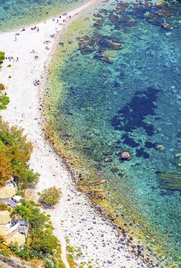 ?le et plage d'Isola Bella dans Taormina, Sicile, Italie photos libres de droits