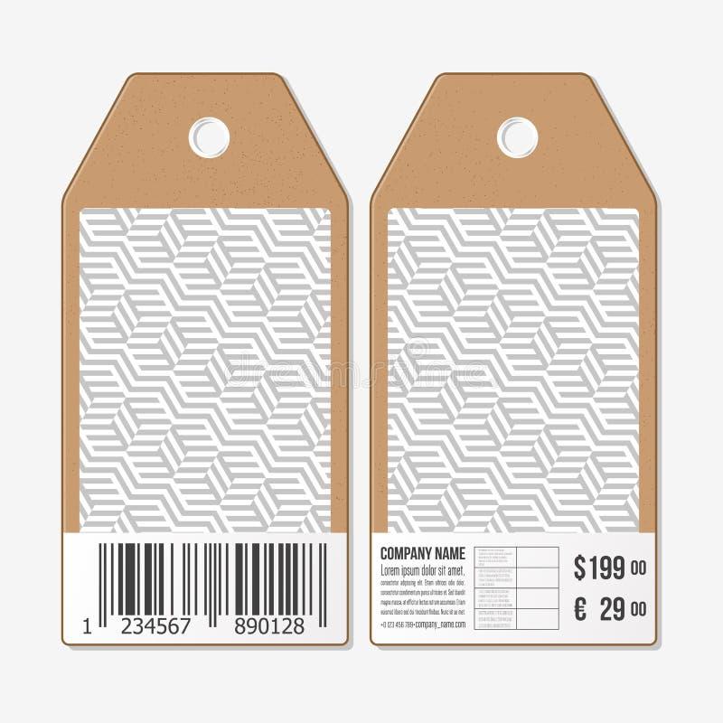 Le etichette di vettore progettano da entrambi i lati, etichette di vendita del cartone con il codice a barre Cubi di ricorso Ret illustrazione di stock