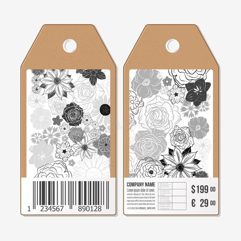 Le etichette di vettore progettano da entrambi i lati, etichette di vendita del cartone con il codice a barre Modello floreale di royalty illustrazione gratis