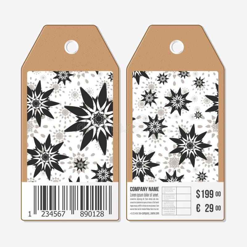 Le etichette di vettore progettano da entrambi i lati, etichette di vendita del cartone con il codice a barre Modello floreale di illustrazione di stock
