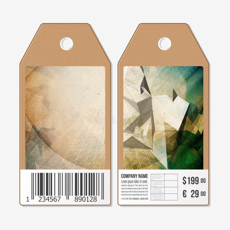 Le etichette di vettore progettano da entrambi i lati, etichette di vendita del cartone con il codice a barre Progettazione conce royalty illustrazione gratis