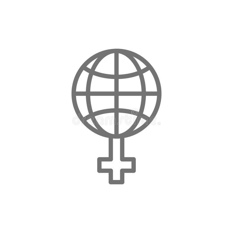 Le féminisme dans le monde, globe avec la ligne femelle icône de signe illustration libre de droits