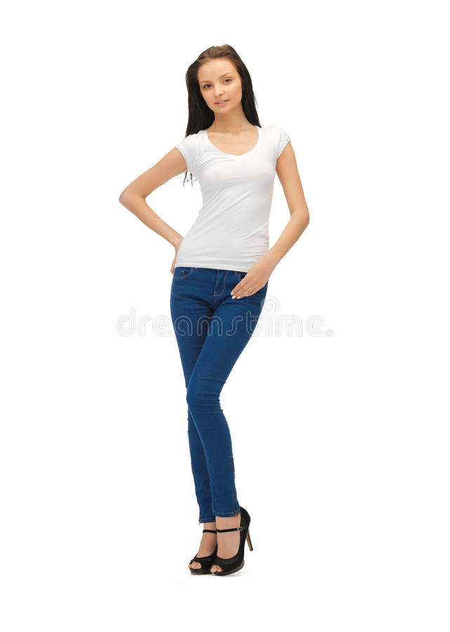 Le för blankovit för tonårs- flicka t-skjortan royaltyfri fotografi