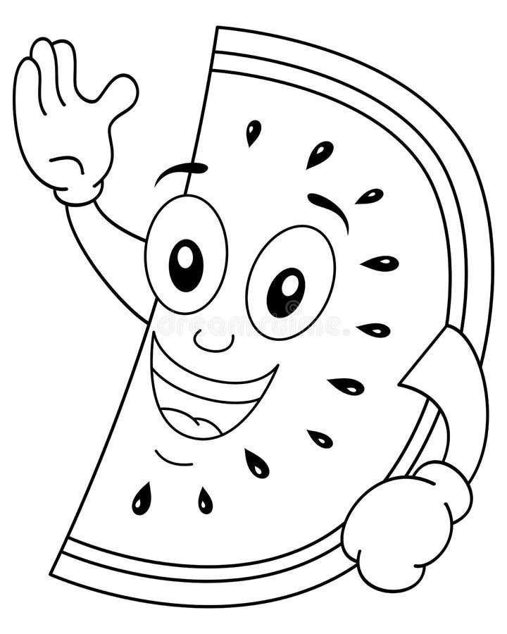 Le för färgläggningvattenmelontecken royaltyfri illustrationer