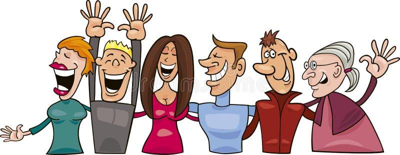 le för gruppfolk stock illustrationer