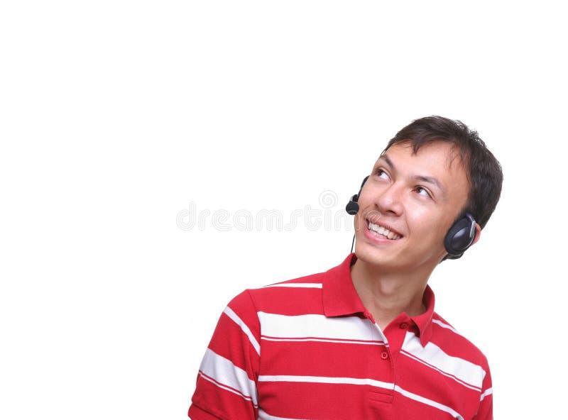 le för hörluraroperatörsrepresentant royaltyfri bild