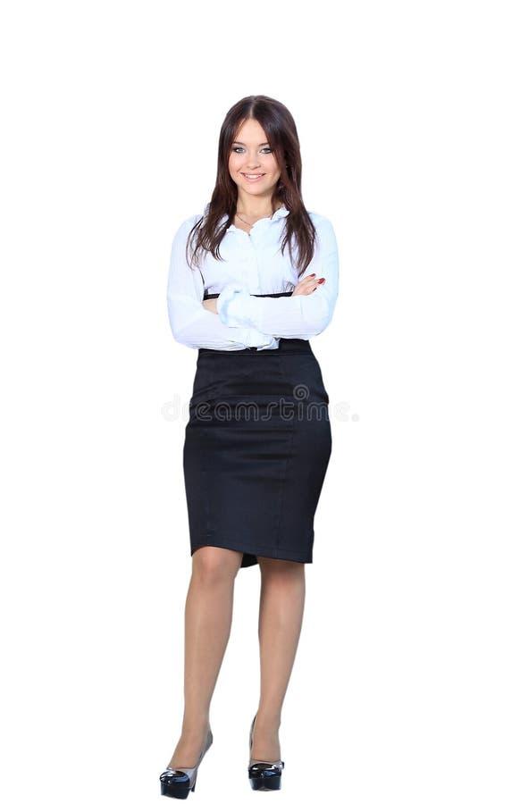 Le för kropp för affärskvinna som stående oavkortat är lyckligt på kameran royaltyfri bild
