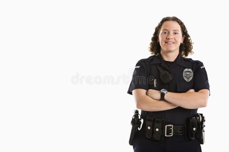 le för kvinnlig polis royaltyfri bild