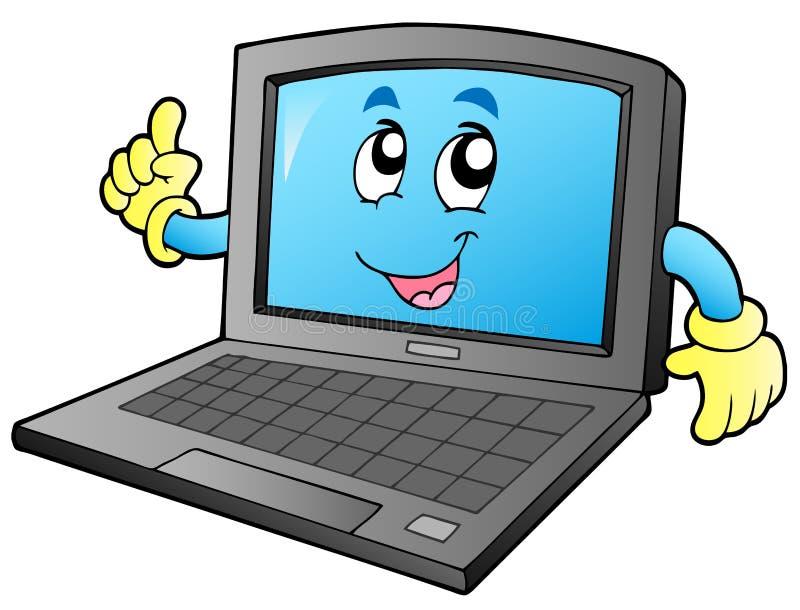 le för tecknad filmbärbar dator royaltyfri illustrationer