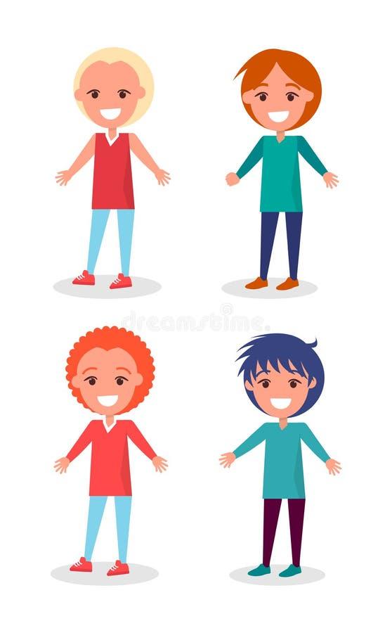 Le förskole- pojkar i kläder och frisyrer royaltyfri illustrationer