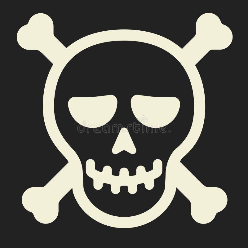 le f?r skalle Enkelt piratkopiera symbolen med huvudform och ben royaltyfri illustrationer