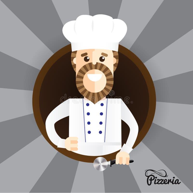 Le fabricant heureux de pizza faisant des pouces lèvent le signe Le caractère élégant à la mode peut être employé dans l'identité illustration libre de droits