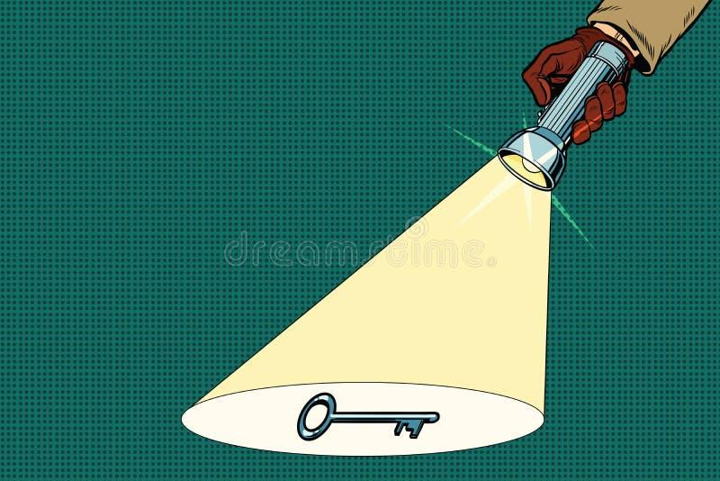 Le faisceau révélateur de lampe-torche brille sur la clé illustration de vecteur