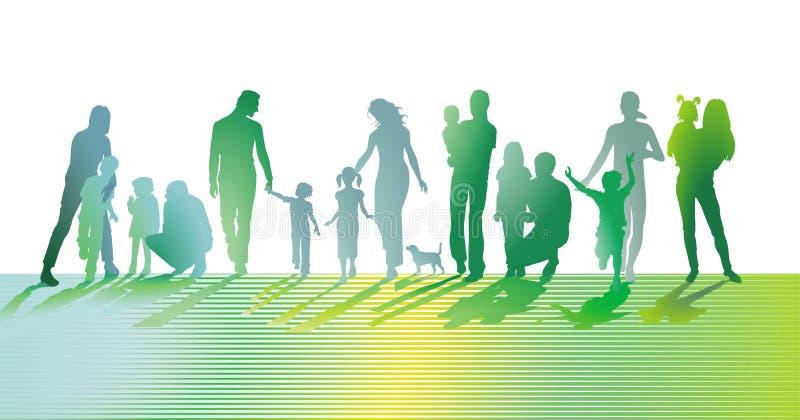 Le famiglie con i bambini, i genitori e gli amici stanno divertendo royalty illustrazione gratis