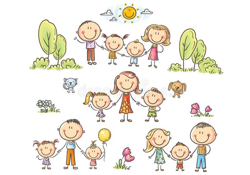 Le famiglie felici hanno messo con i bambini, illustrazione di vettore royalty illustrazione gratis