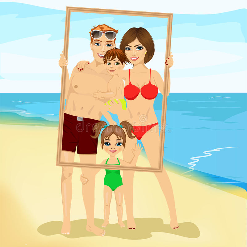 Le familjen med sonen och dottern som ser till och med en tom ram på stranden stock illustrationer