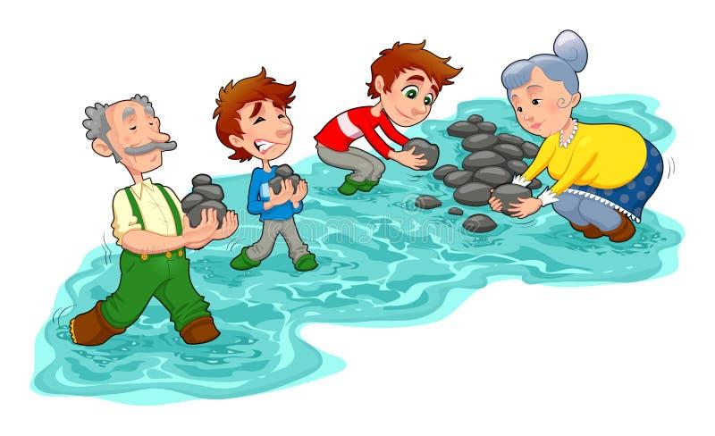 Le famille effectue un petit barrage avec des pierres. illustration libre de droits
