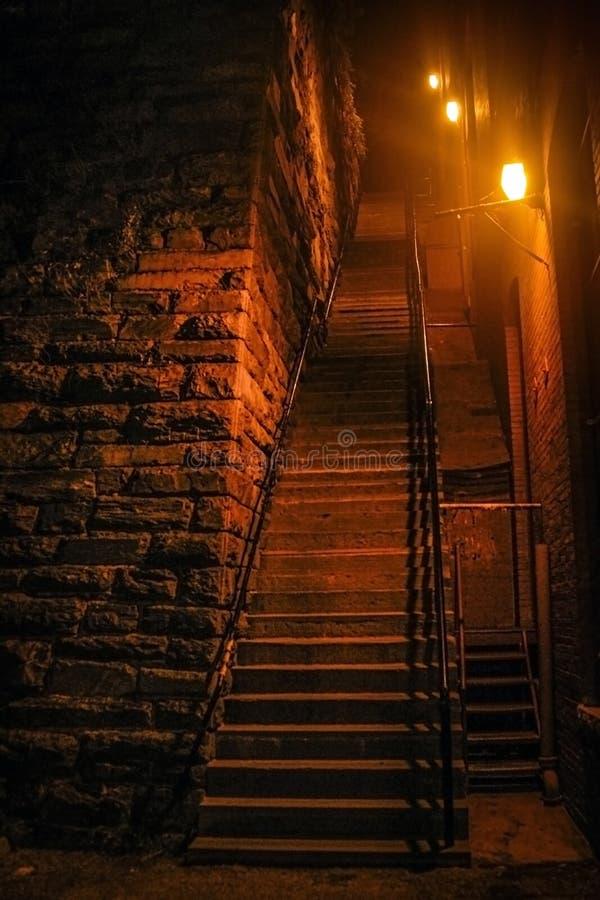 Le famose scale spaventose nel film dell'esorcista fotografia stock