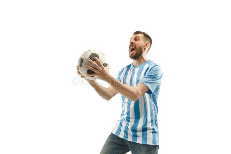 Le fan de foot argentin célébrant sur le fond blanc photos libres de droits