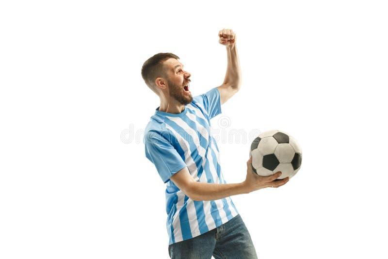 Le fan de foot argentin célébrant sur le fond blanc photographie stock