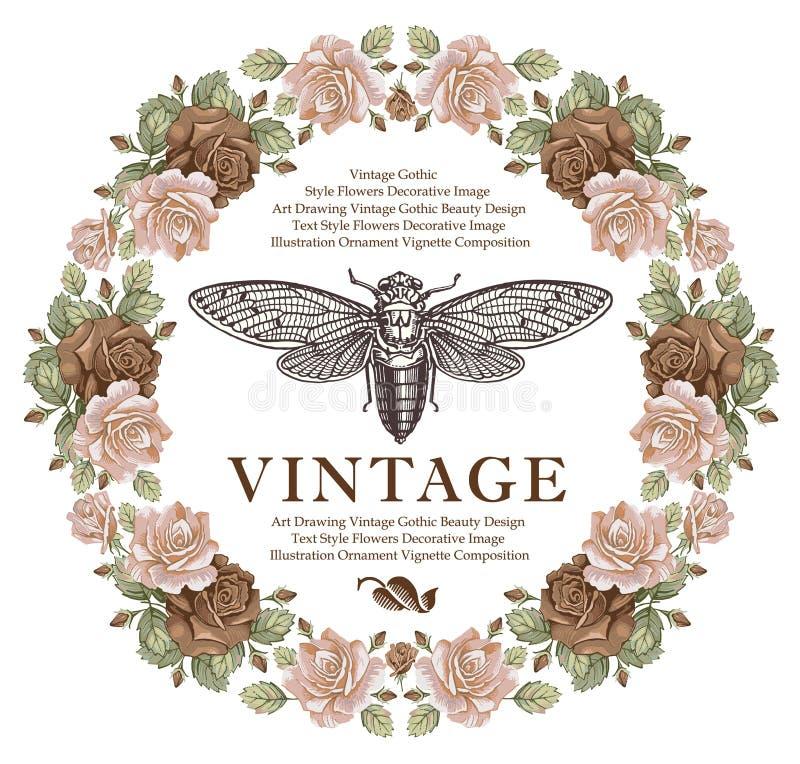Le farfalle, cicala, insetti, Rosa barrocco fiorisce Carta d'annata della struttura wallpaper Illustrazione di vettore illustrazione vettoriale