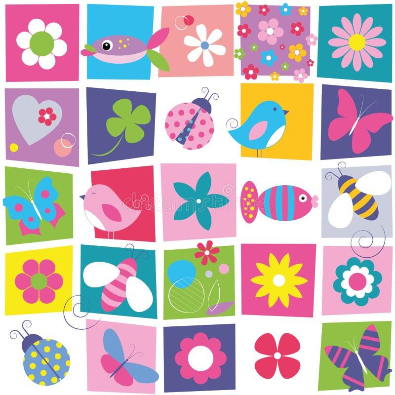 Le farfalle delle coccinelle delle api degli uccelli pescano e fiorisce il fondo illustrazione di stock