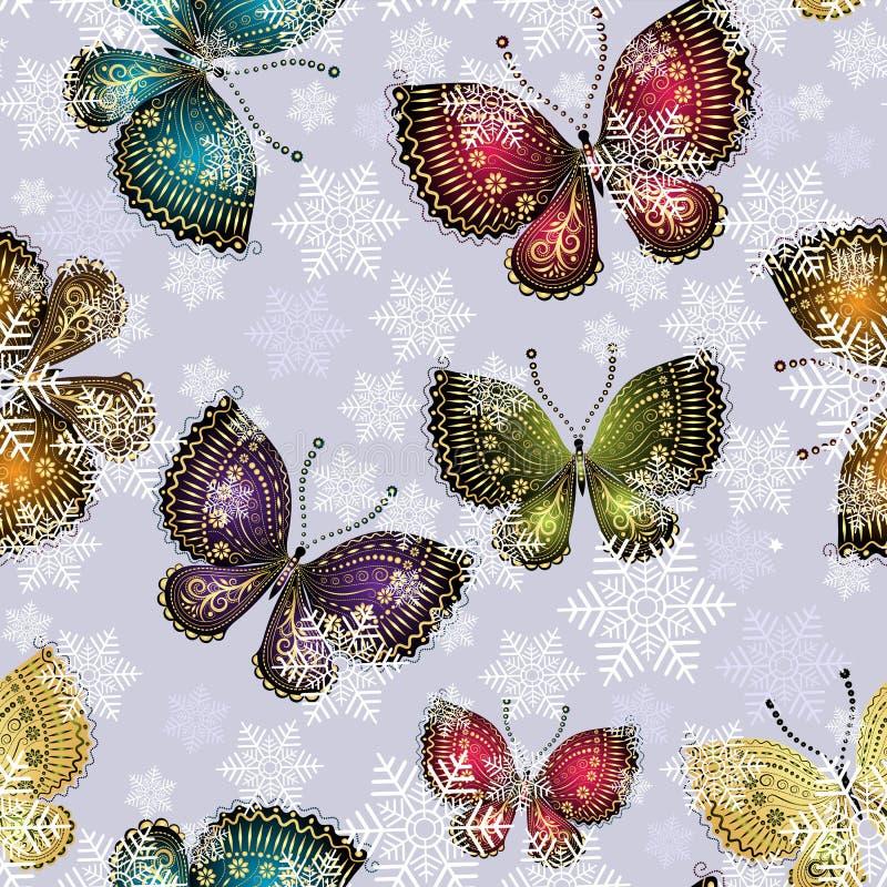 Le farfalle luminose della molla turbinano in un vortice nevoso illustrazione vettoriale