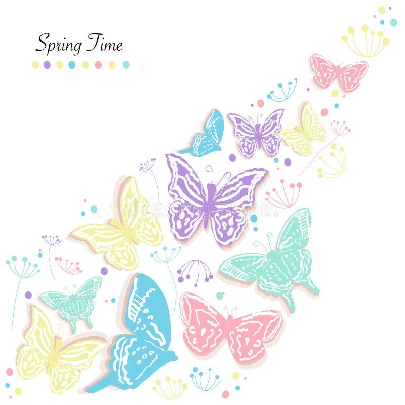 Le farfalle progettano e sottraggono il fondo di vettore della cartolina d'auguri di tempo di molla dei fiori royalty illustrazione gratis
