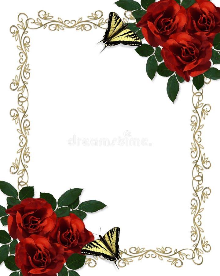 Le farfalle rosse delle rose delimitano l'invito di cerimonia nuziale illustrazione vettoriale
