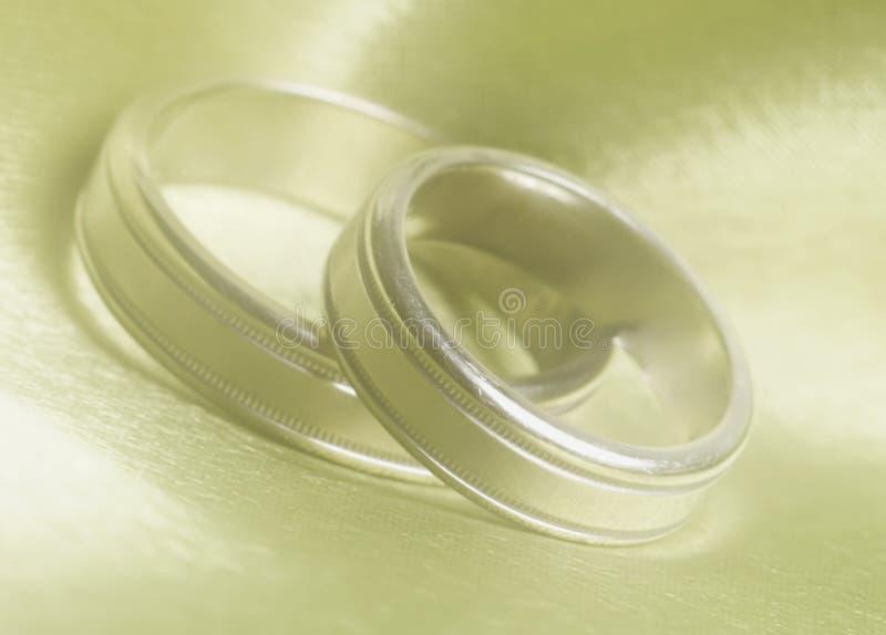 Le fasce di cerimonia nuziale in su si chiudono fotografie stock