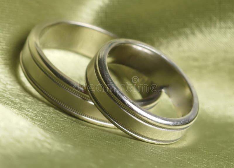 Le fasce di cerimonia nuziale in su si chiudono su raso verde fotografia stock