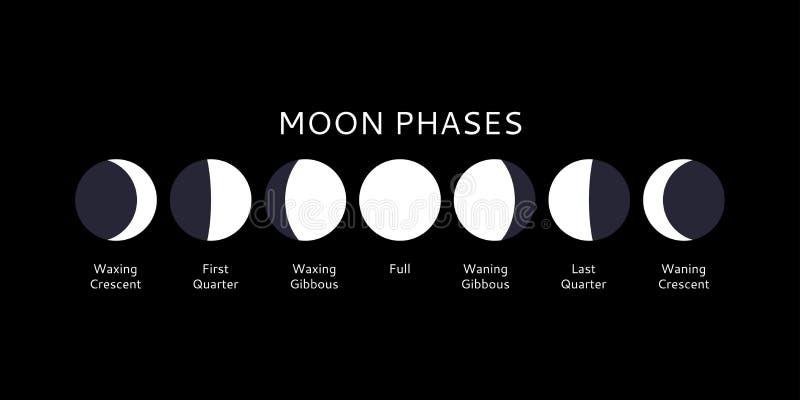 Simboli Luna Calendario.Illustrazione Di Vettore Del Calendario Di Fasi Lunari