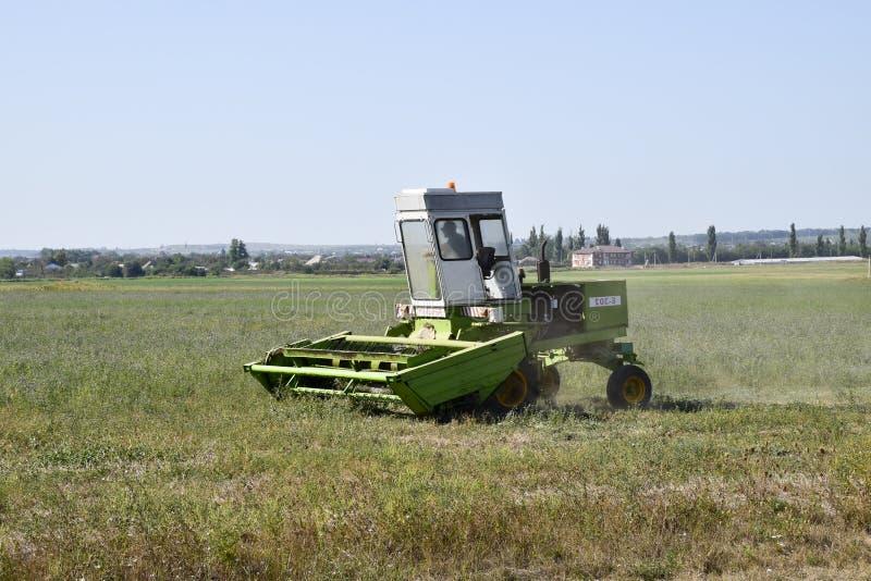 Le faucheur dans le domaine fauche l'herbe pour le foin photographie stock