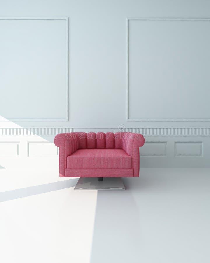 Le fauteuil rose simple dans un blanc a lambrissé la pièce illustration stock