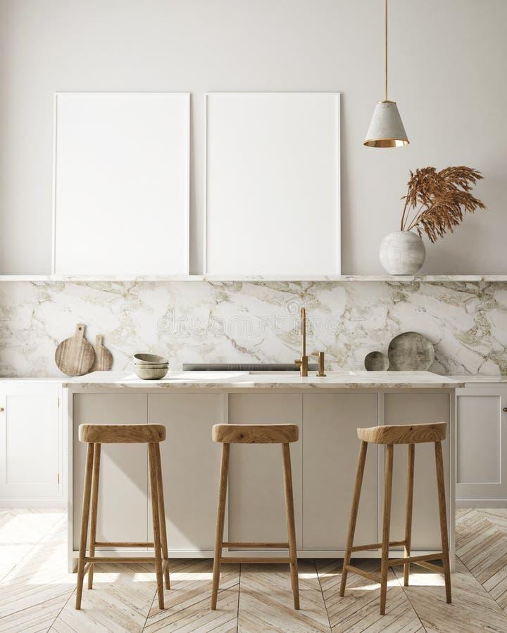 Le faux cadre haut d'affiche à l'arrière-plan intérieur moderne, cuisine, le style scandinave, 3D rendent images libres de droits