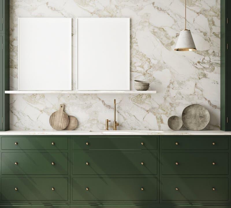 Le faux cadre haut d'affiche à l'arrière-plan intérieur moderne, cuisine, le style scandinave, 3D rendent photographie stock