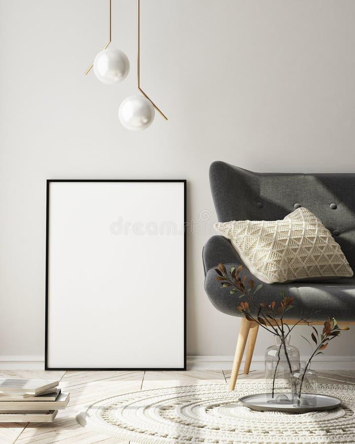 Le faux cadre haut d'affiche ? l'arri?re-plan int?rieur moderne, salon, le style scandinave, 3D rendent photographie stock libre de droits