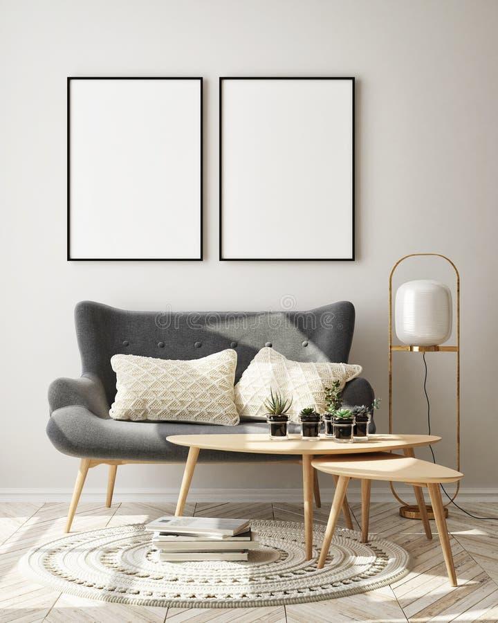Le faux cadre haut d'affiche ? l'arri?re-plan int?rieur moderne, salon, le style scandinave, 3D rendent photos libres de droits