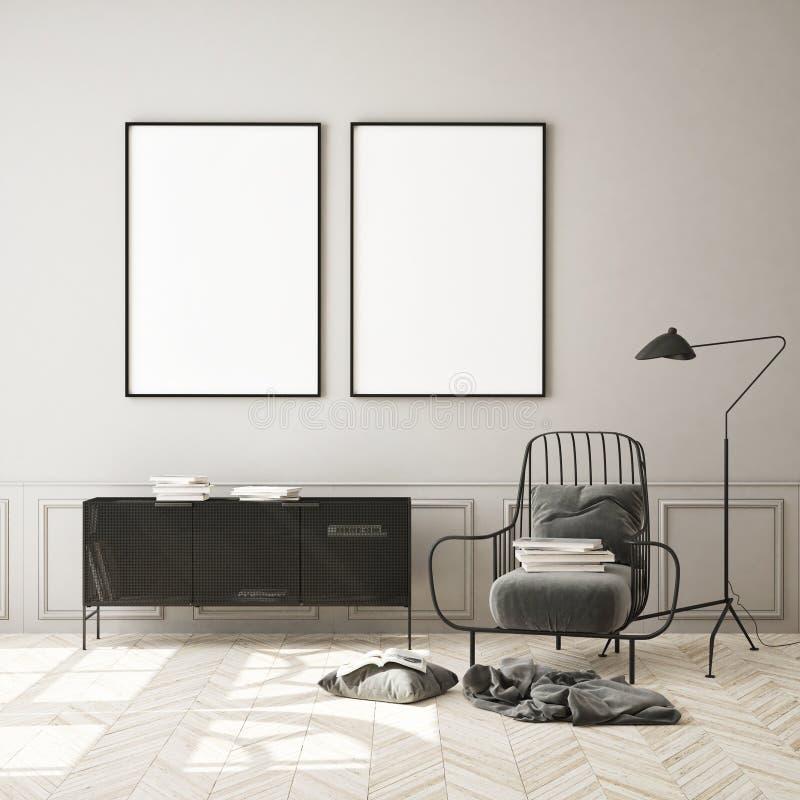 Le faux cadre haut d'affiche ? l'arri?re-plan int?rieur moderne, salon, le style scandinave, 3D rendent image stock