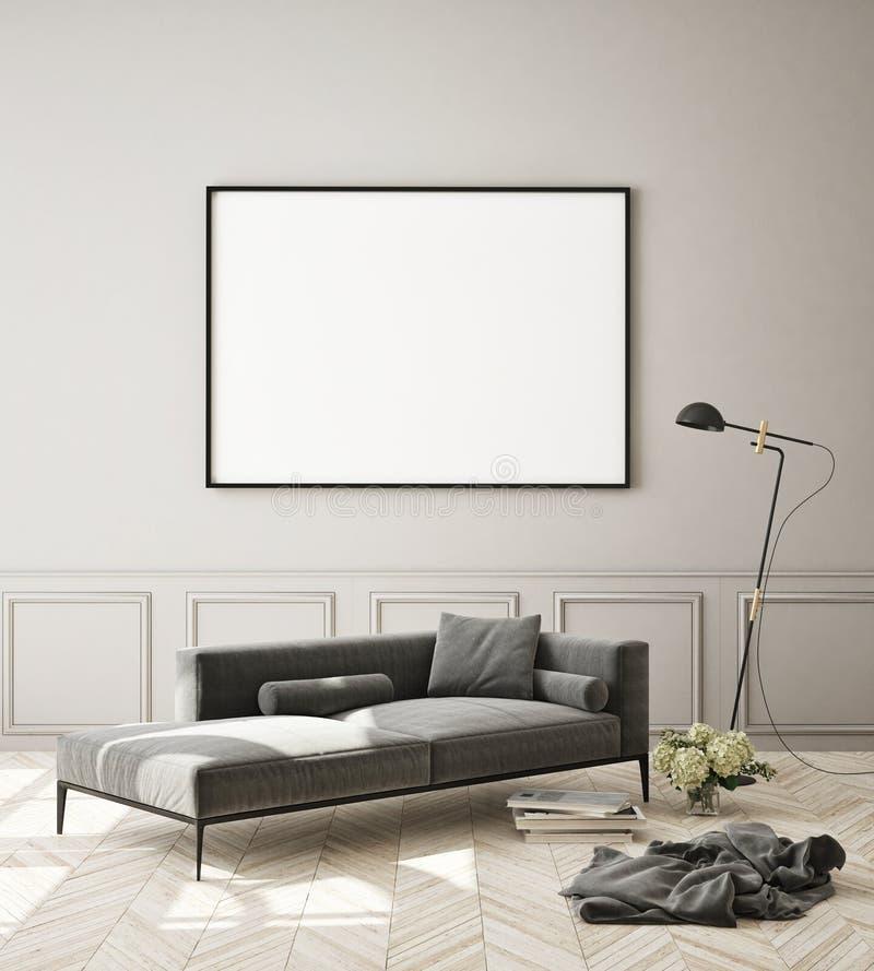 Le faux cadre haut d'affiche ? l'arri?re-plan int?rieur moderne, salon, le style scandinave, 3D rendent photos stock