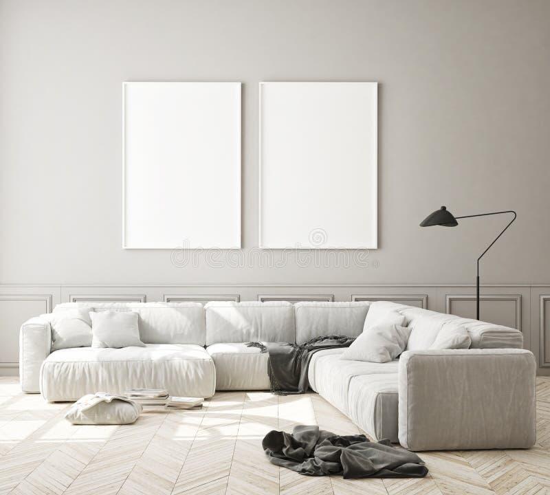 Le faux cadre haut d'affiche ? l'arri?re-plan int?rieur moderne, salon, le style scandinave, 3D rendent photographie stock