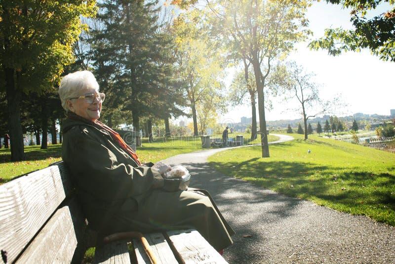 Le femme aîné s'asseyent sur un banc images libres de droits