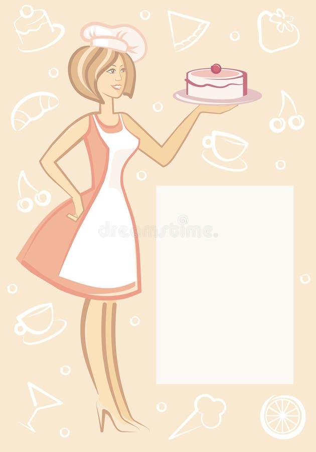 Le femme avec le dessert de la plaque illustration de vecteur