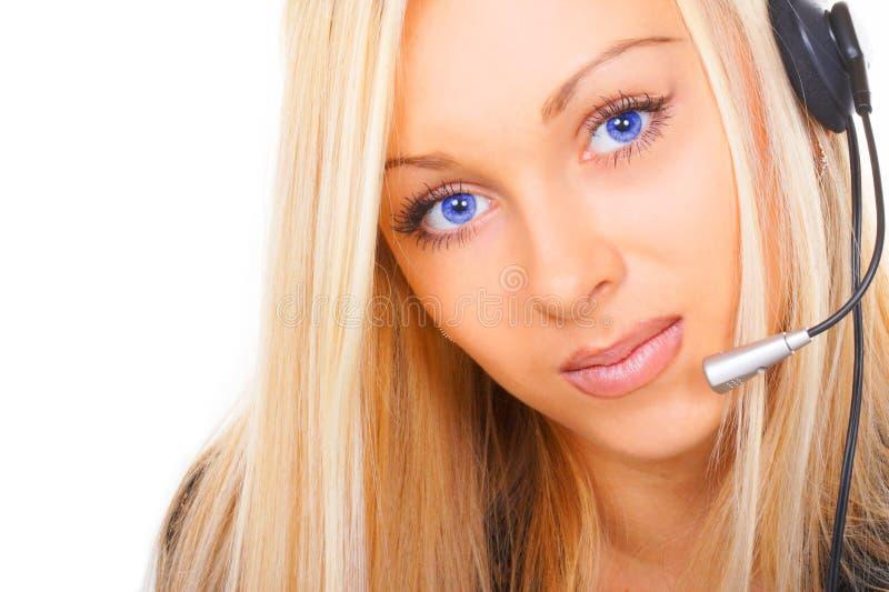 Le femme d'affaires avec des œil bleu photos stock