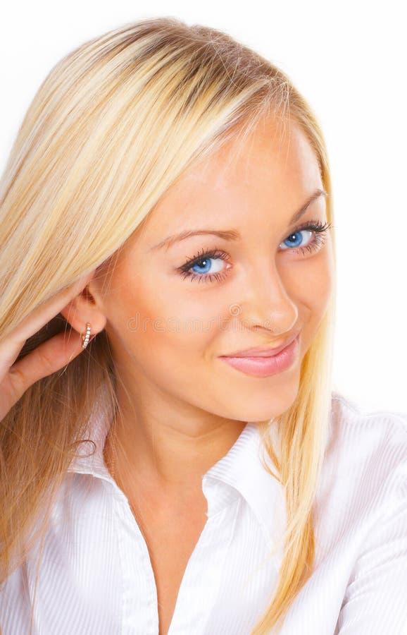 Le femme d'affaires avec des œil bleu images libres de droits