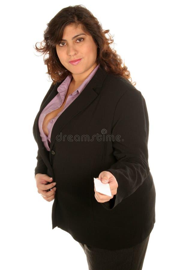 Le femme d'affaires donne sa carte photo stock
